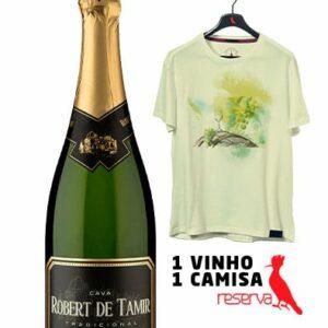 Espumante Robert De Tamir Reserva D.O. Cava Brut + Camiseta Amarela Aquarela Espanha G